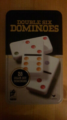 Double Six Color Dot Dominoes Game Set - 28 Double 6 Dominoes in a Tin Box - NEW