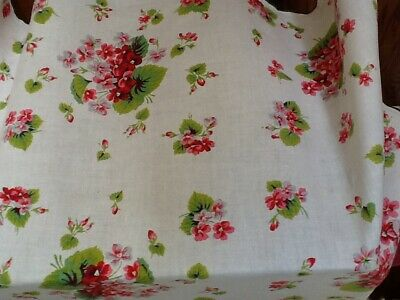"vintage tablecloth  white w/ pink flowers linen green trim 52"" X 54"""
