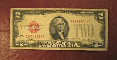 1928 Rare First Series $2 Two Dollar Red Seal Note Circulated 1928 *** Ship Free