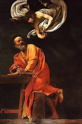 Art Print//Poster The Inspiration of Saint Matthew 0020790 Caravaggio