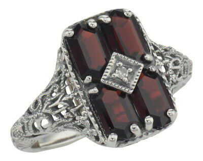 Antique Style 2 Carat Garnet Filigree Ring with Diamond - Sterling Silver (6)