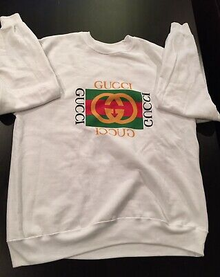 52be390609b Late 80s Early 90s Vintage Style Bootleg Gucci White Sweatshirt Unisex Large