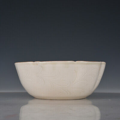 "8"" Chinese old Porcelain ceramics Song Dynasty ding kiln flower mouth bowl"