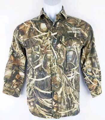 2c774d57f Game Winner Youth Boys Green Brown Camo Long Sleeve Button Hunting Shirt  Large