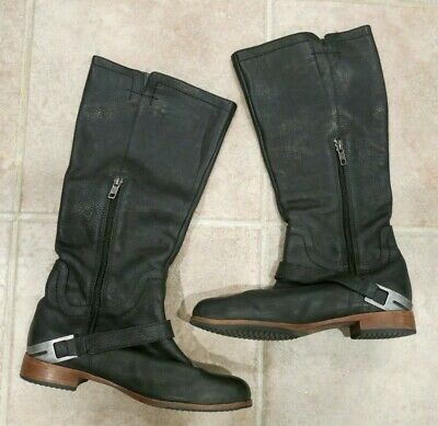 c893c10e344 UGG AUSTRALIA CHANNING Black Leather Zip Riding Boots Womens Size 9 ...
