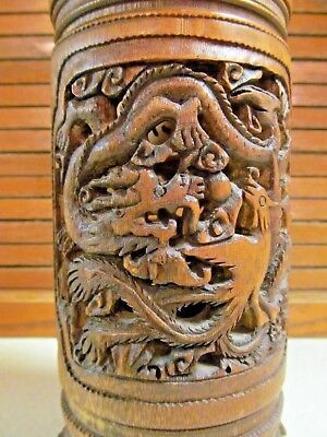 Chinese Carved Pot Censor Brush Holder Inkwell Bowl Dragon Pheasant Reticulated