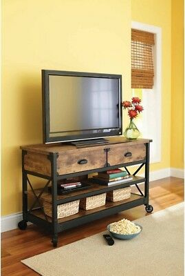 Farm Style TV Stand Low Rustic Farmhouse Entertainment Media Console Sofa Table