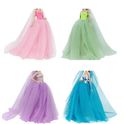 Handmade Party Dress + Veil Wedding Accessories Clothes For 12 in. Doll Toy Gift