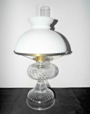 Gwtw Vintage Converted Electric Swirled Pressed Glass Oil Burner Hurricane Lamp