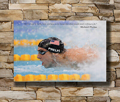 Hot Michael Phelps Motivational Quotes USA Swimming Sport Poster 24x36 T-1823