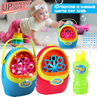Automatic Bubble Blowing Blower Maker Machine Kid Party Birthday Effect+Solution