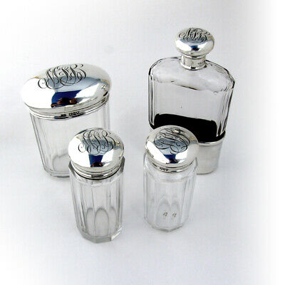 Vanity Jars 3 and Flask Sterling Silver Cut Crystal London 1905