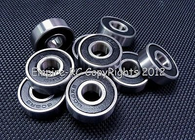 (10 PCS) 608-2RS (8x22x7 mm) Rubber Sealed PRECISION Ball Bearings BLACK 8 22 7