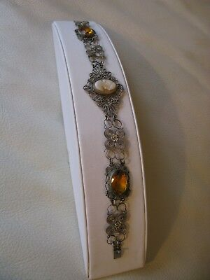 Antique Victorian Style Amber Glass Jewel Silver T Filigree Shell Cameo Bracelet