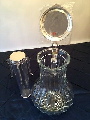 BMF Germany Glass Pitcher w/Silver Plate Lid and Ice Sleeve
