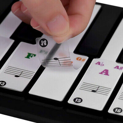 Universal Transparent Piano 49/54/61/88 Key Note Keyboard Sticker DecalsDurable