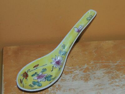 """Antique Spoon 5.75"""" Famille Rose Yellow Floral handmade 19th / Qing Porcelain"""