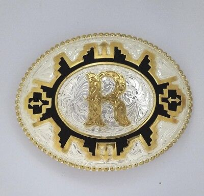 Large/Big Western Vintage Initial R Belt Buckle Silver & Gold Plated  by Justin