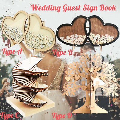 Wooden Wood Tree Double-Heart Wedding Guest Signature Sign Book Decor Ornaments