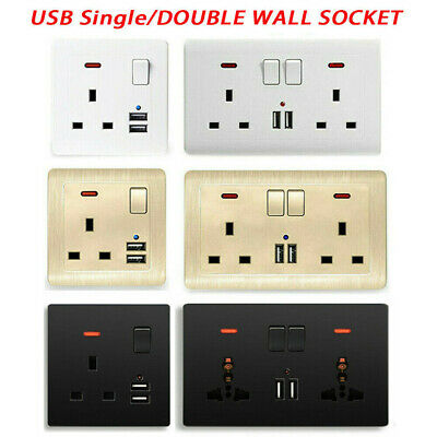 Multi Wall UK Plug Socket 2 Gang 13A with Double USB Charger Port Outlets Plate