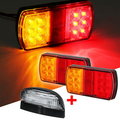 2x 12LED Marine Trailer pair of Lights + Number Plate Light Kit Submersible