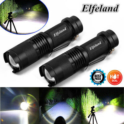 2x 12000LM Elfeland T6 LED Zoom Rechargeable Flashlight Torch Super Bright Light