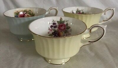 Royal Standard Bone China England 3 Teacups Yellow & Mint Gold Trim Floral Fruit