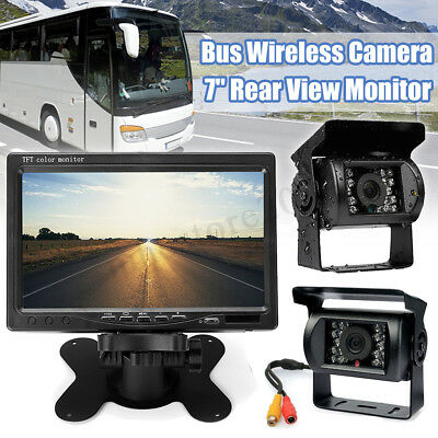 "Wireless 7"" LCD Monitor + 2x IR Rear View Reversing Camera Kit For Car Bus Truck"