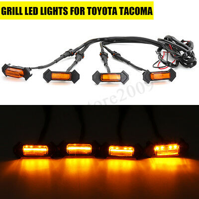 4Pcs Grille Grill Led Lights For Toyota Tacoma Trd Amber Leds 2016-2019 W/Wire