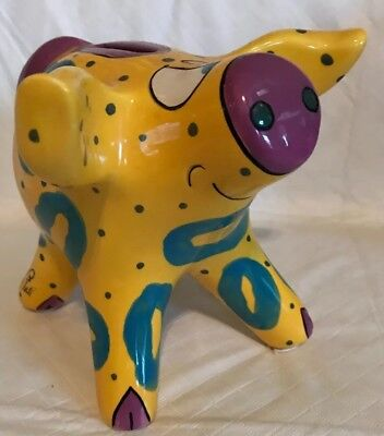 Whimsical Yellow Teal Patterned Ceramic Pottery Pig Piggy Bank Coin Bank Signed