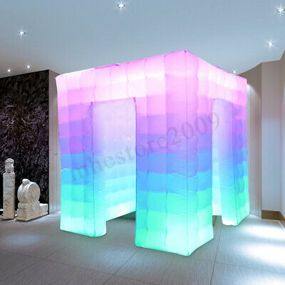 2-Door Inflatable LED Photo Booth Lighting 2.5M Tent Weddings Party Events Cube