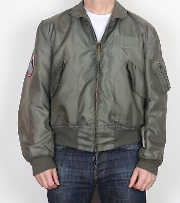 """Flyers Cold Weather Bomber Jacket MA-1 CWU-45/P Large 42"""" 44"""" Green (K1F)"""