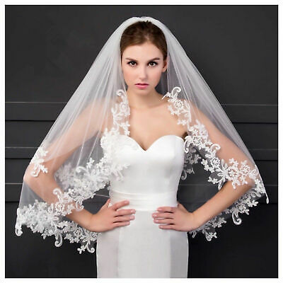 UK Bridal Wedding Veil 2 Tier With Comb Lace Edge Soft Swiss Tulle