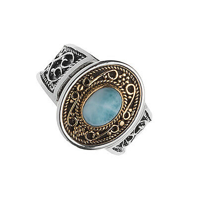 Savati ~ 22K Solid Gold, Silver & Larimar Medieval-Byzantine Cocktail Ring