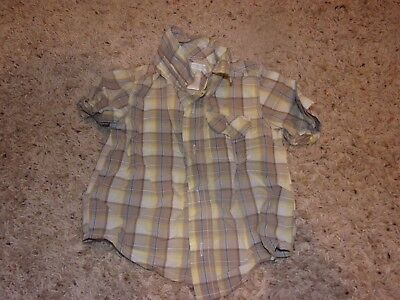 """Boys """"Old Navy"""" Multi-Color Short Sleeve Button Down Plaid Shirt Size 12-18M"""