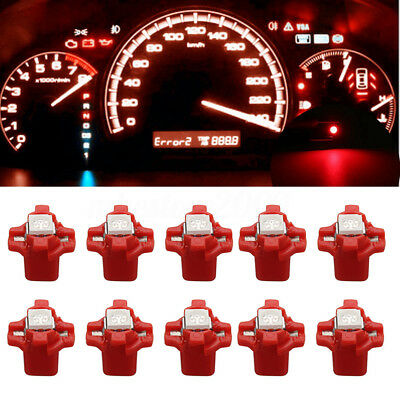 10X Pure Blue T5 Wedge 3-Cell 5050 1SMD LED Bulbs Dashboard Dash Gauge Side 12V