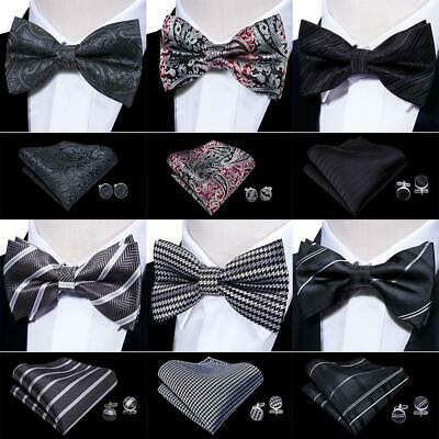 USA Black Bowtie Set Silk Mens Solid Paisley Striped Plaid Pretied Wedding Party