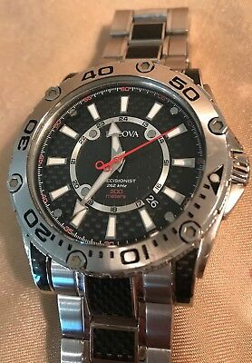 Bulova PRECISIONIST CHAMPLAIN Mens 96B156 CARBON FIBER Black & Silver Watch