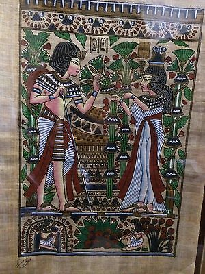 """Egyptian Hand-painted Papyrus Artwork: King Tut & Queen Wedding Scene 9"""" x 13"""""""