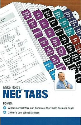Mike Holt's NEC TABS (Color Coded) with Ohm's Law Stickers and Wire Chart - 2017