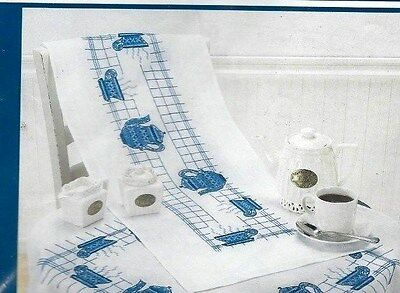 Bluework - Tea Pots & Cups - Stamped for Cross Stitch - TABLE RUNNER