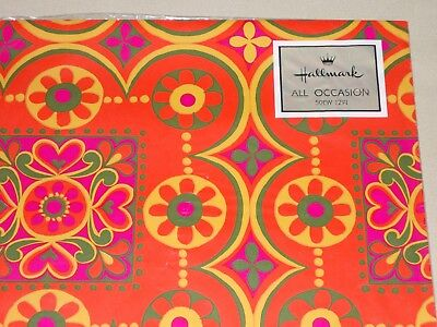 Vtg Wrapping Paper Gift Wrap 1960 Hallmark Hippie 70'S Show Psychedelic Mip Nos