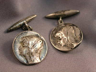 Vintage Men's Cufflinks - Round Silver-tone w/ Young Gypsy Girl in Profile Motif