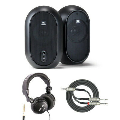 JBL One Series 104 Powered Desktop Studio Monitors with Headphones and Cable