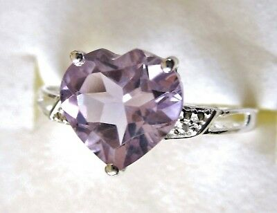 Rose de France Amethyst Heart Ring / size 8 /  925 Sterling Silver, 3cts