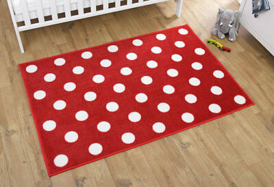 Brand new in bag Kit for kids nursery rug in Red with white spots 100x150 cm