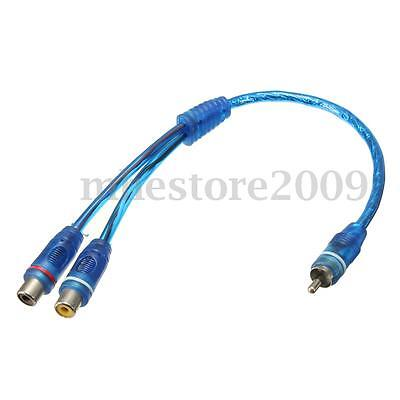 RCA  Phono Y Splitter Lead Adapter 1x Male To 2 Female Car Audio Connector Plug
