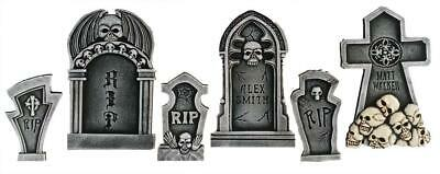 SET OF 6 Tombstones Cemetery Outdoor Halloween Prop Decor HAUNTED HOUSE Spirit