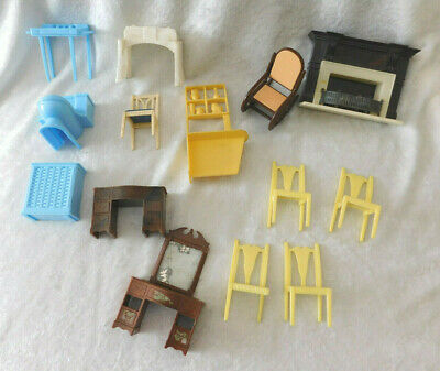 Vintage Plastic Dollhouse Furniture Lot Assorted makers and pieces