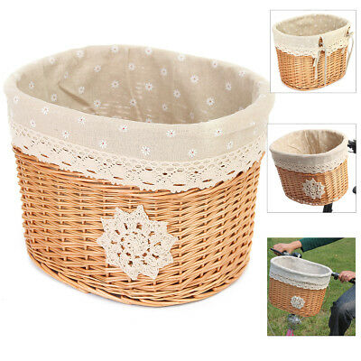 Wicker Bicycle Bike Cycling Front Basket Pack Handlebar For Pet Shopping Camping